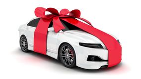 White car gift and alpha channel stock video footage
