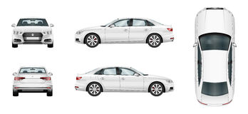 White  car. Isolated sedan template Royalty Free Stock Images