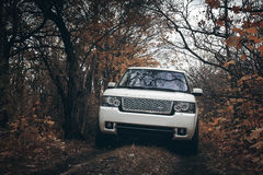 White car Land Rover Range Rover stand on countryside off-road at dramatic clouds daytime Stock Photography