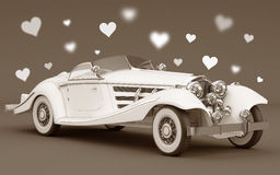 White car with love hearts - wedding Stock Images
