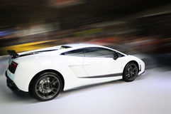 White car  motion blur. White lamborghini, Gallardo LP 570-4 Superleggera. motion blur Royalty Free Stock Photo