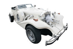 White car old style. A white car old style with white bow decorated for a wedding royalty free stock images