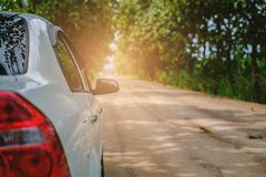 White car on rural road amidst green trees Stock Images