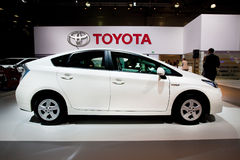 White car Tayota Prius Royalty Free Stock Photo