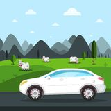 White Car Trip Vector Design. Cows on Field. And Mountains on Background royalty free illustration