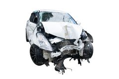 White car The car was hit by an accident isolate on white background Royalty Free Stock Photo