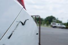 The white car was hit on the back., crash back white car.  stock photo