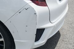 The white car was hit on the back., crash back white car.  royalty free stock photography