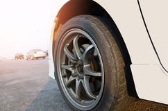 White Car wheels. steel alloy car disks. Royalty Free Stock Images