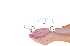 The white car from white background on hands, isolated on white. Royalty Free Stock Photography