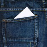 White card in a back pocket of a jeans Royalty Free Stock Photography
