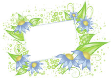 White card with blue flowers. A white card for text surrounded with the blue flowers and leaves Stock Photography