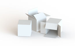 White Card Boxes. White open isolated card boxes royalty free illustration