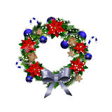 White card with Christmas wreath and bow Stock Photo