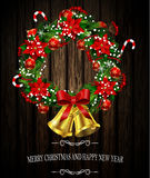 White card with Christmas wreath and bow Stock Images