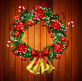 White card with Christmas wreath and bow Royalty Free Stock Image