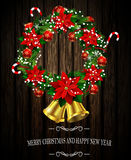 White card with Christmas wreath and bow Stock Image