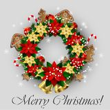 White card with Christmas wreath and bow Royalty Free Stock Photography