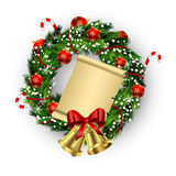 White card with Christmas wreath and bow Stock Photography