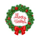 White card with Christmas wreath and bow. illustration. Merry christmas lettering royalty free stock photos