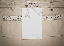 White card on a cloth Royalty Free Stock Images