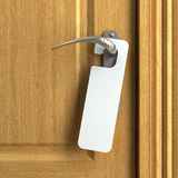 White card with copy space on doorknob Stock Image