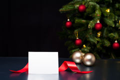 White card in elegant Christmas decoration Royalty Free Stock Photos