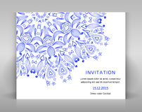 White card with floral decoration. Royalty Free Stock Photo