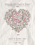 White card with heart of spring flowers for Mother's Day,  vecto Royalty Free Stock Photography