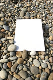 White card isolated. At the beach royalty free stock photo