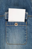 White card jeans pocket for note Royalty Free Stock Photography