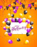 Happy Halloween on card with balloons and confetti on orange bac. White card with lettering Happy Halloween on orange background with multicolored balloons Stock Image