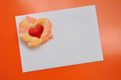 White card with love rose Stock Image