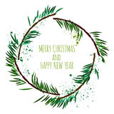 White card with minimalistic Christmas wreath and art splashes, Vector illustration. White card with minimalistic Christmas wreath,  illustration Royalty Free Stock Photography