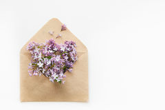 White Card with opened craft paper envelope filled with spring blossom purple lilac flowers laying on white background. top view. Stock Photo