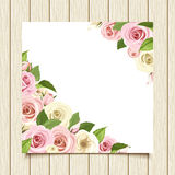 White card with pink and white roses on a wooden background. Vector eps-10. Royalty Free Stock Photos