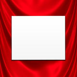 White Card On Red Satin Stock Image