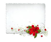 White card with roses Stock Photography