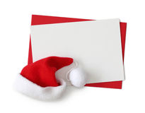 White card and santa hat Royalty Free Stock Photography