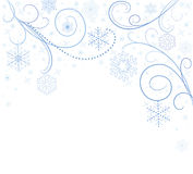 White card with snowflakes. White card with blue snowflakes Royalty Free Stock Photos