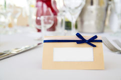White card on table Royalty Free Stock Photos