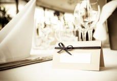 White card on table stock photos