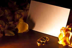 White card with wedding rings Royalty Free Stock Photos