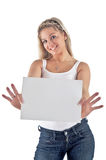 White card and young woman Stock Photography