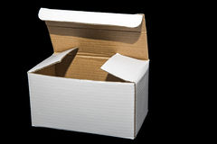 White cardboard box isolated Stock Images