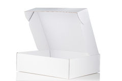 White cardboard box open Stock Photos