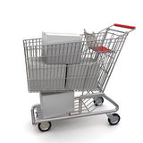 White cardboard box in the trolley Royalty Free Stock Photo
