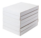 White cardboard boxes isolated on white. Six white boxes isolated on white Stock Photography