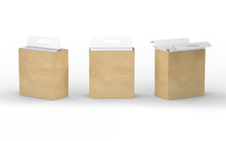 White cardboard and brown paper box packaging with handle, clipp Stock Image