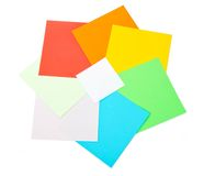 White cardboard on color sheets Stock Photo
